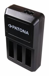 Ladegerät Triple für GoPro Hero 4 AHDBT-401, inkl. Micro-USB Kabel