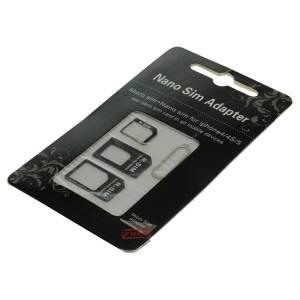 SIM-Kartenadapter Set (4 in1) / Nano-Sim, Micro-Sim, Sim, Sim-Pin