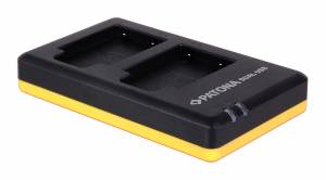 Dual Schnell-Ladegerät für Olympus LI-40B, Casio NP-80, NP-82, Nikon EN-EL10, Fuji NP-45 inkl. Micro-USB Kabel